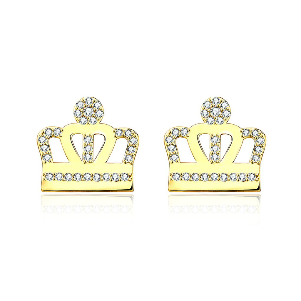 Daesar Gold Plated Earring Womens Princess Crown Screwback Cubic Zirconia Earirng CZ Stud Earrings