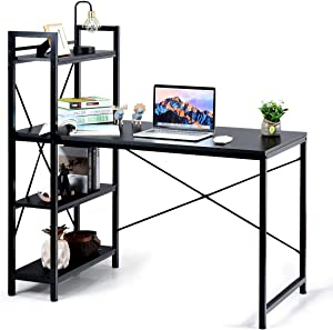 Tangkula Computer Desk with 4 Tier Shelves, Study Writing Table with Storage Bookshelves, Modern Compact Home Office Workstation, 47.5