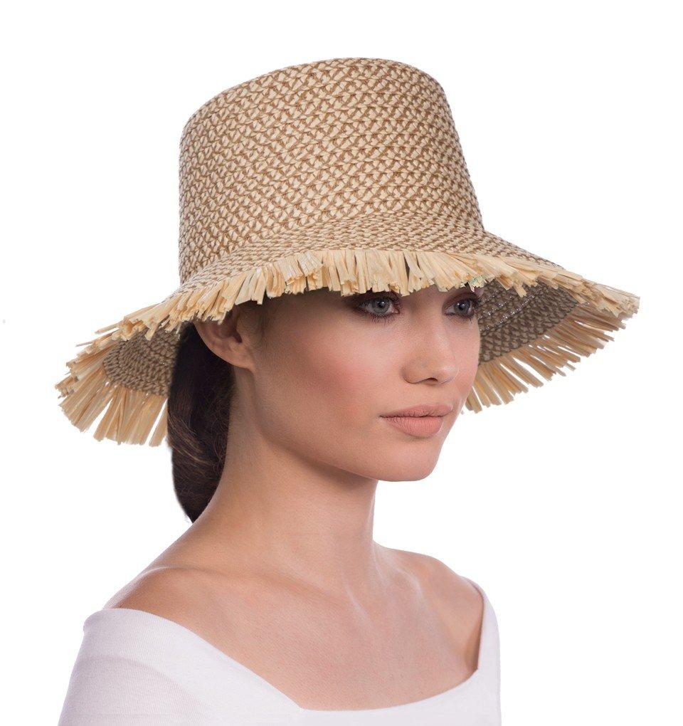 Eric Javits Luxury Fashion Designer Women's Headwear Hat - Tiki Bucket - Peanut