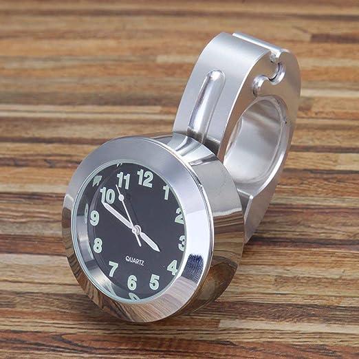 YonganUK 22mm/25mm Manillar Motocicleta Reloj, Universal Moto para Harley Scooter Reloj, Estilo Vintage Reloj para Bicicleta Motocicleta - Plateado, 22mm: Amazon.es: Jardín