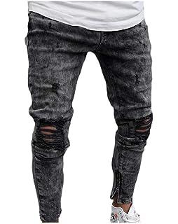 Winwinus Mens Stretchy Zipper Cowboy Regular-Fit Holes Jeans Pants