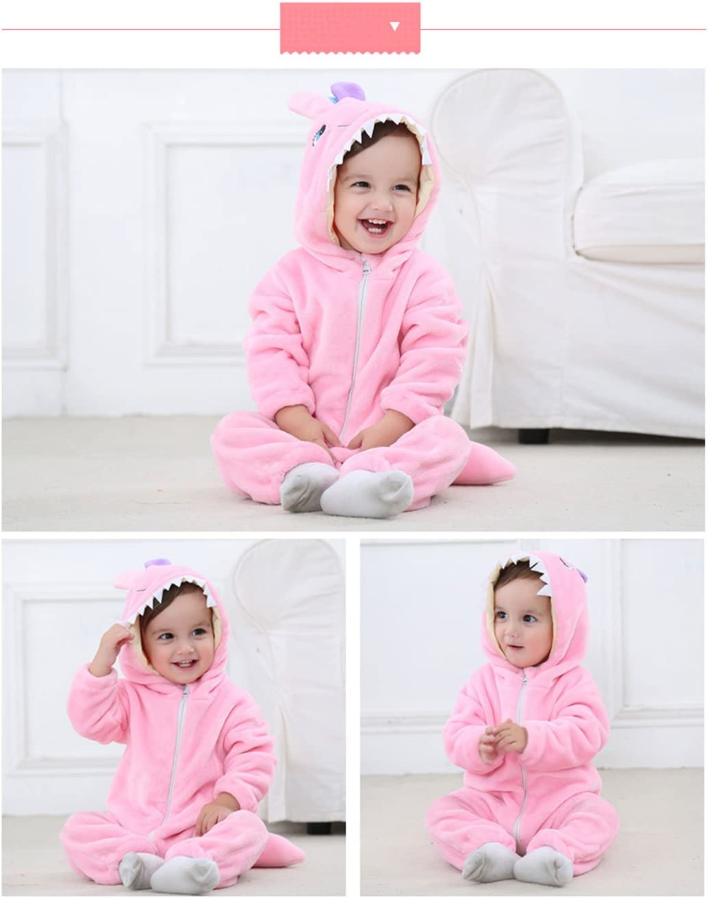 Amazemarket 0-5 Years Baby Infant Jumpsuit Set Hooded Romper Super Cute Animals Design Soft Flannel Toddler Climb Clothes Kids Casual Christmas Costumes 70 cm, Leopard