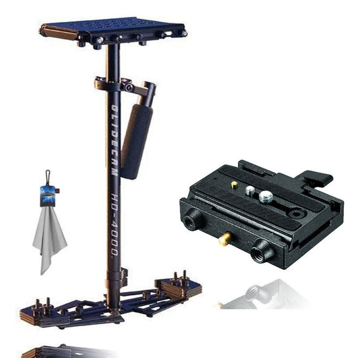 Glidecam HD-4000 Hand-Held Stabilizer + Manfrotto 577 Rapid Connect Adapter with Sliding Mounting Plate+ Spudz Microfiber Cleaning Cloth with Pouch Blue Lightning