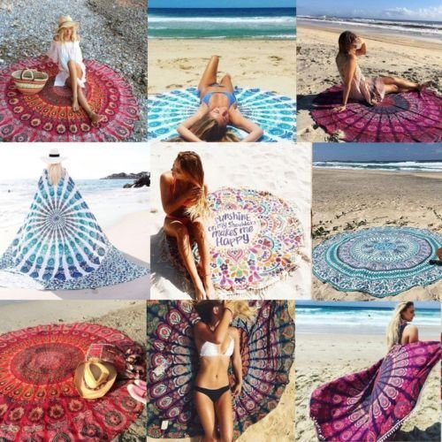 Indian Mandala 50 Pcs Lot 72'' Roundie Boho Mandala BeachThrow Round Tapestry 458