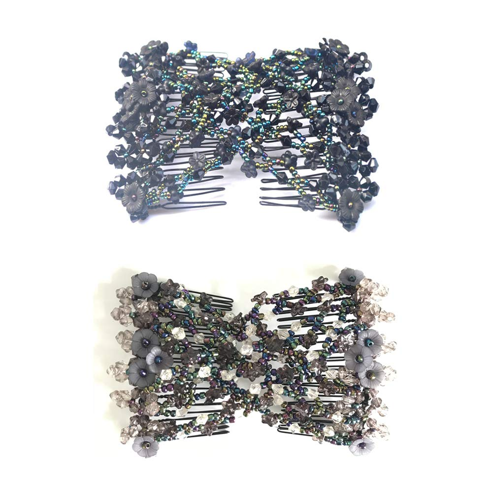 Casualfashion 2 Pcs Magic Hair Comb for Lady Women Girls Hair Styling Combs, Ez Stretch Beaded Combs Clips wf-5541-black-gray