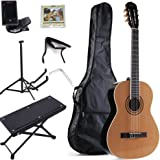 ADM 4/4 Full Size Yellow Finished Classical Guitar with Nylon-String, Gig Bag, E-tuner, ect, Student Beginner Kit