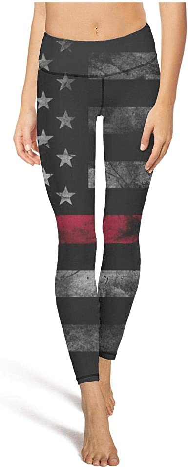 Yoga Pants For Women For Womens Workout Capris Thin Red Line Subdued American Flag Sport Workout Running Legging Gym Tights At Amazon Women S Clothing Store