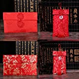 Corcio HongBao Chinese Element Festive Silk Red Envelopes Gift Card Wedding Red Money Pockets 4PCS/set