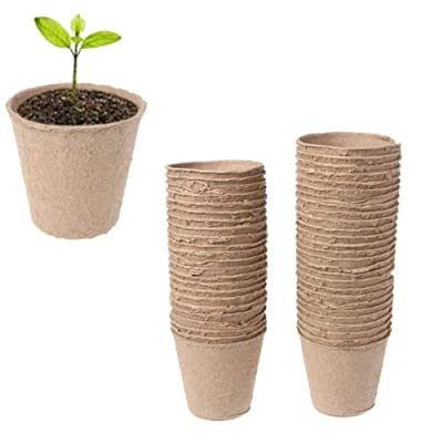 """VIDELLY 50 Pieces 2.36"""" Peat Pots Seedling Herb Seed Starter Pots Plant Starters Recycled Paper Planting Eco-Friendly Breathable No Transplant Shock for Seedlings Flowers Vegetables Seeds: Garden & Outdoor"""