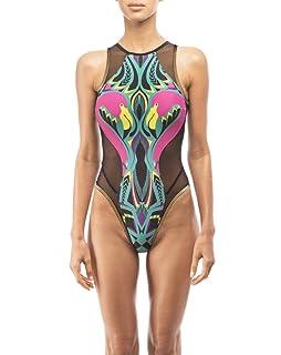 Xiang Ru 1Pc Lingerie Maillots de Bain Siamois Femme Imprimé Digital Moulant Bikini Trinagle Aurore