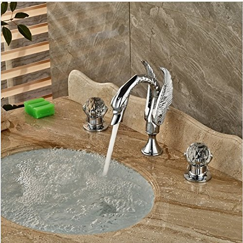 GOWE Polished Chrome Widespread Swan Basin Sink Faucet Deck Mount Dual Handles Mixer Taps 0