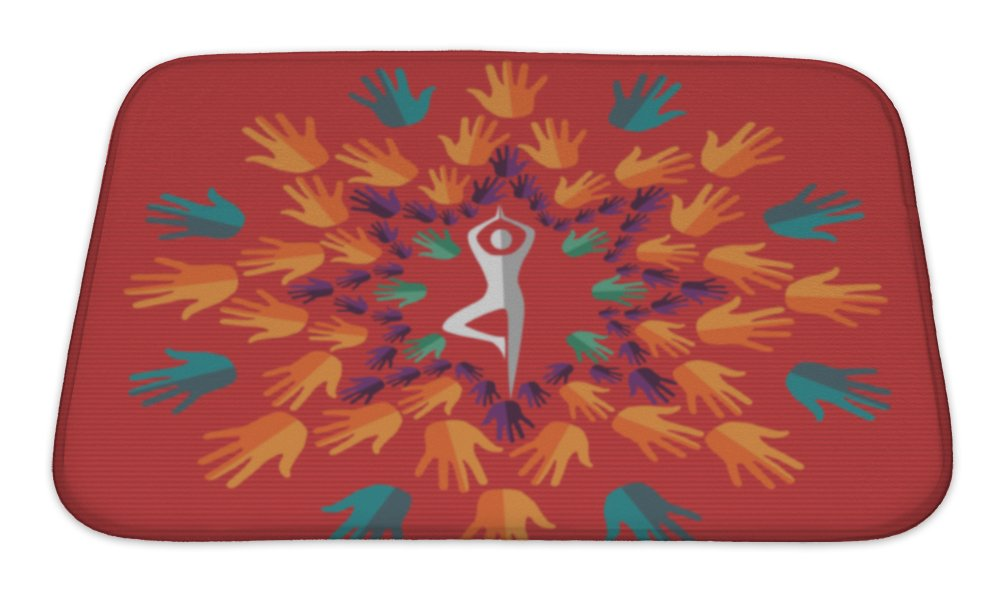 Gear New India Yoga Human Mandala Bath Rug Mat No Slip Microfiber Memory Foam