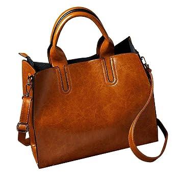 f93c4a93fe2 Women Handbag, Neartime 2018 Fashion Leather Zipper Messenger Solid Color  Versatile Shoulder Bag Satchel (32cm(L)×25(H)×11cm(W), Brown)  Beauty