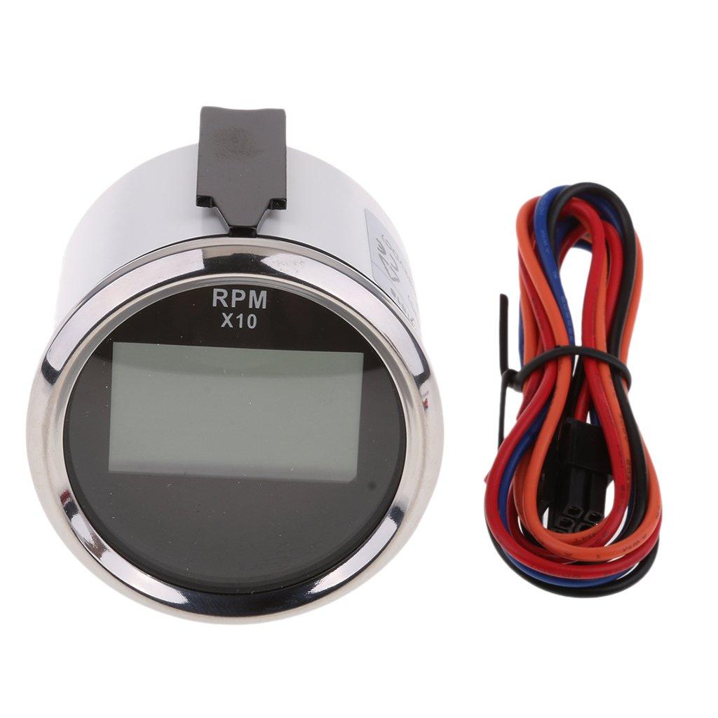 3 Colores B Baosity Medidor De Tac/ómetro para Barco para Motor Fuera De Borda Marino//Tac/ómetro De Tac/ómetro Autom/ático 0-9900 RPM con Cron/ómetro