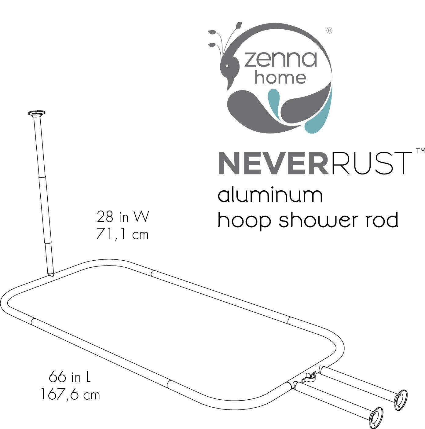 NeverRust Aluminum Hoop Shower Curtain Rod for Claw Foot Tubs ZPC Zenith Products Corporation Zenna Home 34941SS Chrome