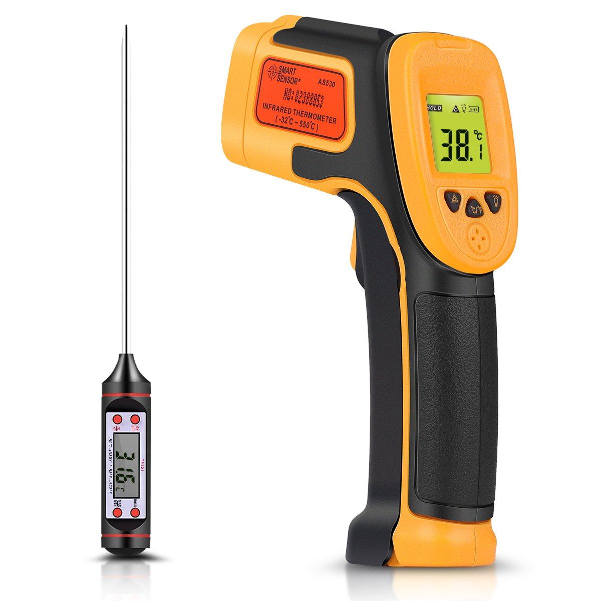 Termómetro Infrarrojo, Termómetro Láser Digital Pistola de Temperatura -26 ° F ~ 1022 ° F (-32 ° C ~ 550 ° C) Sonda de Temperatura para Cocinar / Aire / Refrigerador - Termómetro Carne Incluido