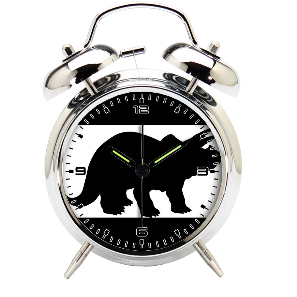 Children's Room Silver Dinosaur Silent Alarm Clock Twin Bell Mute Alarm Clock Quartz Analog Retro Bedside and Desk Clock with Nightlight-384.484_Dinosaur, Reptile, Horns, Animal, Prehistoric