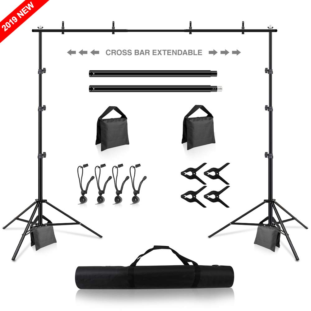 Backdrop Stand, Heorryn 8.5 x 10ft Background Stand Adjustable Photography Muslin Background Support System Stand for Photo Video Studio by Heorryn