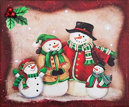 (Oak Street Christmas Snowman Family of 4 LED Canvas Picture with Timer (9x8x1 inches))