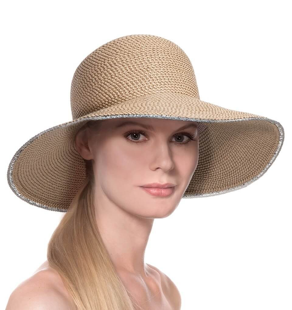 Eric Javits Luxury Fashion Designer Women's Headwear Hat - Hampton - Peanut Silver by Eric Javits