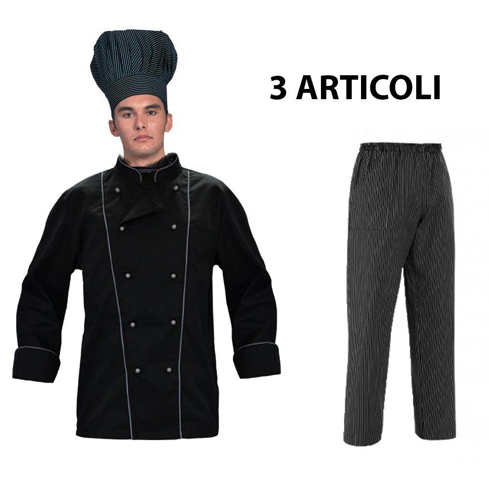 Completo giacca cuoco nera con bordini grigi e pantalone nero a righe grigie