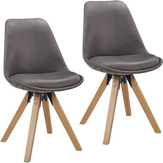 Duhome 2er Set Stuhl Esszimmerstühle Küchenstühle Farbauswahl mit Holzbeinen Sitzkissen Esszimmerstuhl Retro 518M, Farbe:Dunkelgrau,