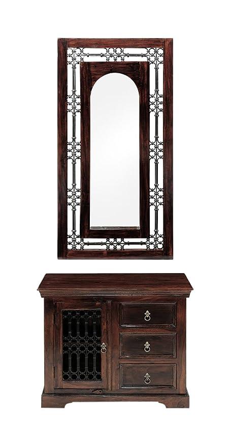 BRM Wooden Dcor Mirror (Brown)