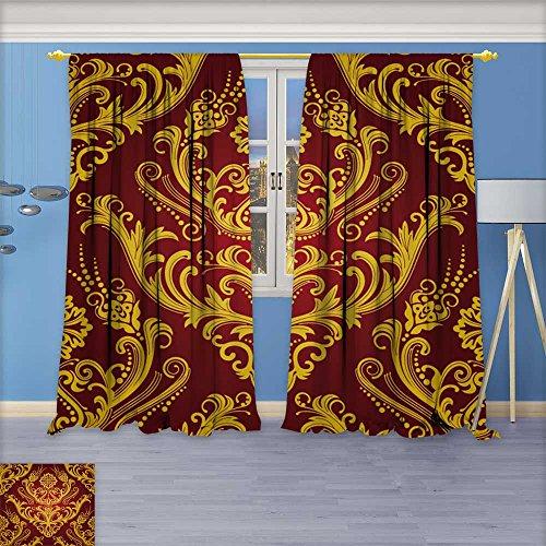 Damask Wallpaper Flower (SeptSonne Flower Design Foil Printed Grommet Thermal Insulated Window Panels Luxury red & gold floral damask wallpaper For Kidsroom, 96W x 84L Inch)