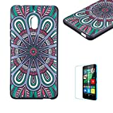 Funyye Relief Rubber Case for Nokia 2.1 2018,Stylish Mandala Pattern Soft Silicone TPU Gel Cover for Nokia 2.1 2018,Slim Fit Shockproof Non Slip Back Cover Smart Shell Protective Case for Nokia 2.1 2018 + 1 x Free Screen Protector