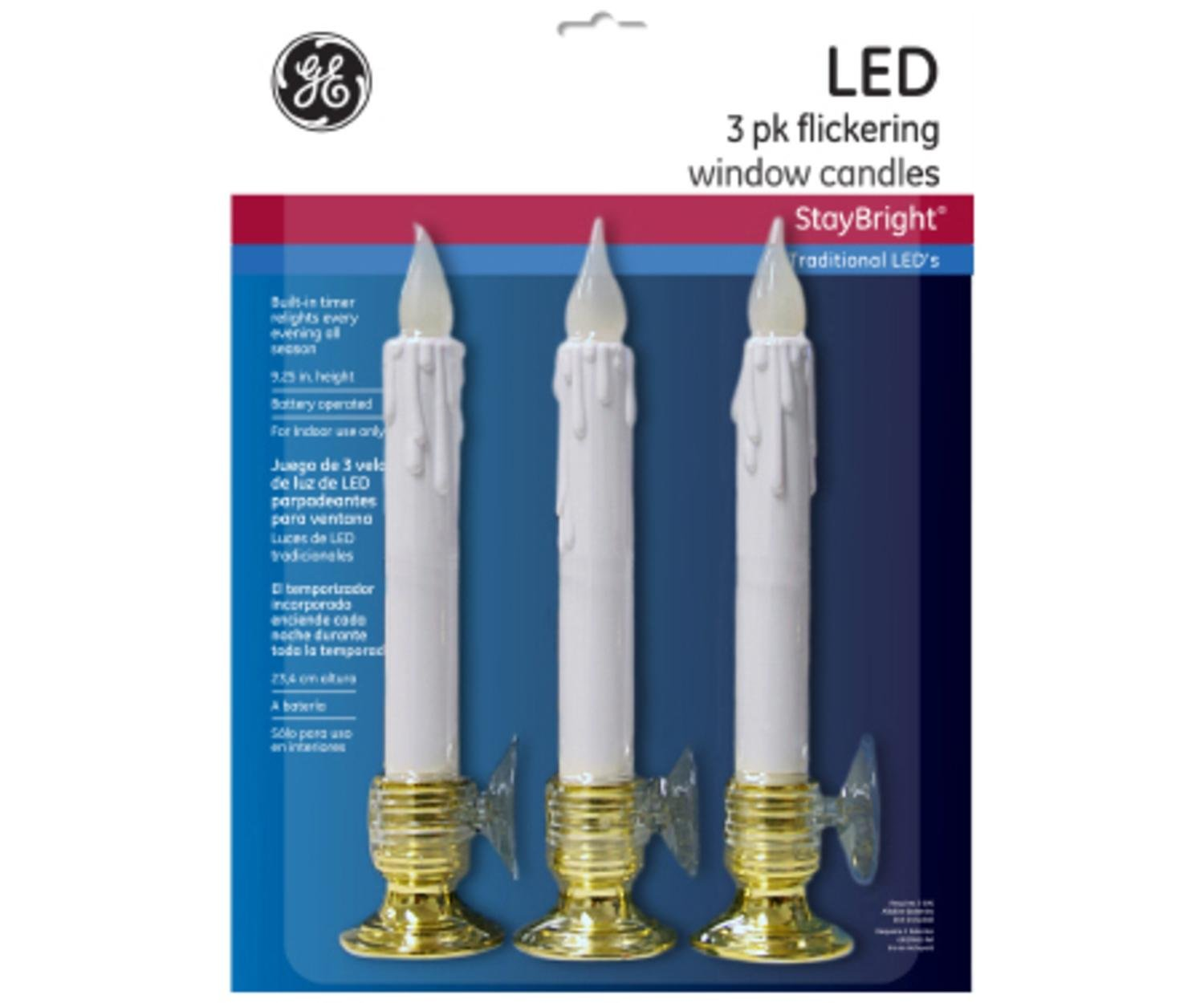 Pack of 3 LED Battery Operated Flickering Window Christmas Candle Lamps with Timers 9.25''