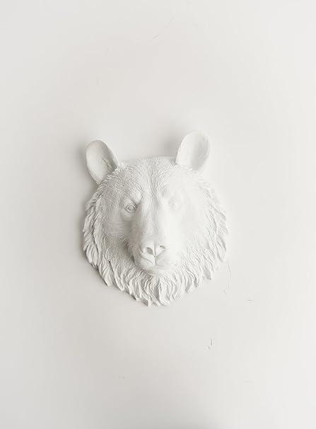 Amazon.com: The Brunskie   Mini Resin Bear Head  White Bear Head ...