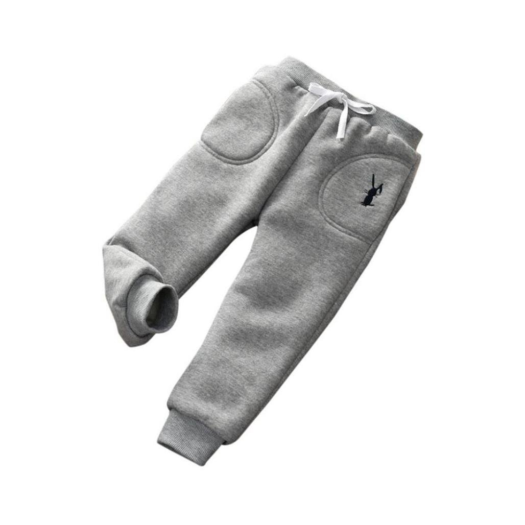 6T, Gray Wondere Winter Warm Kids Daily Thick Lined Long Cartoon Pants Baby Girls Boys Cotton Stretch Leggings Trousers