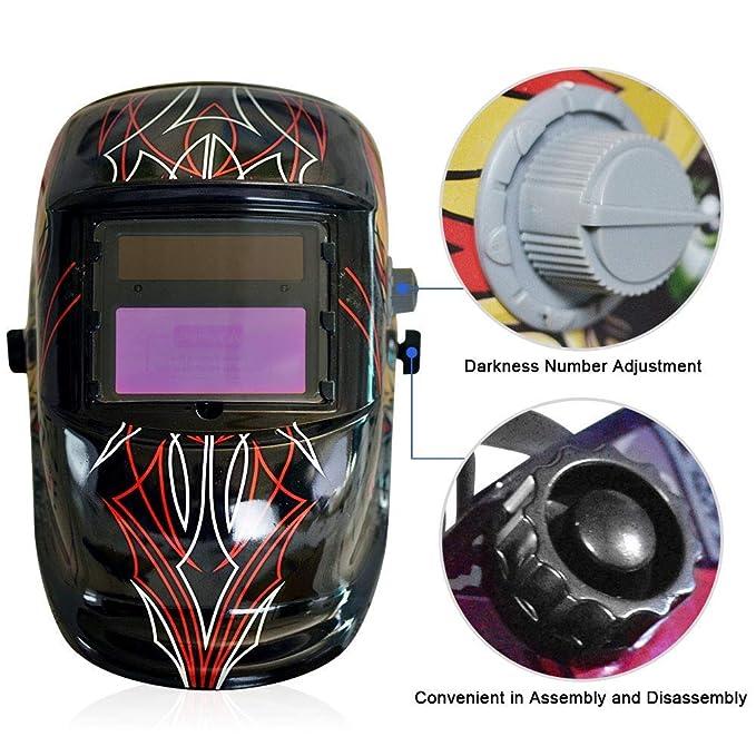 MTSBW Casco De Soldadura Energía Solar Capa De Oscurecimiento Automático Soldador Máscara Cascos De Pulido Transpirables con Rango De Sombra Ajustable: ...