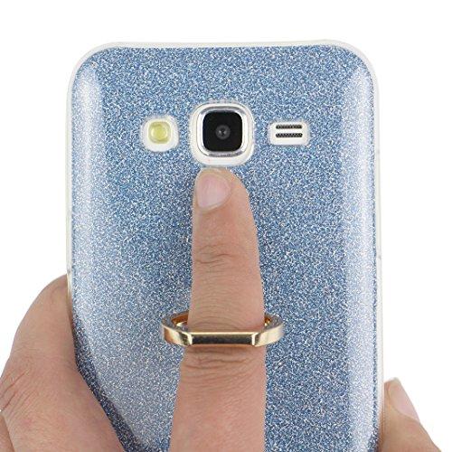 Funda Samsung Galaxy J5 2015, Samsung J5 Caso, Rosa Schleife Liquid Crystal Cubierta suave de TPU + Papel brillo Hybrid 2 in 1 Bling Funda Ultra Slim Premium Silicona Carcasa Funda para Samsung Galaxy A - Azul