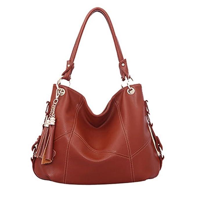 Bolso De cuero de gran tamaño de mujeres Mujeres Bolsos con bandoleras bolsos Borla Hobo Bolsas para Mujer bolsos de lujo marrón grande40x15x28cm.