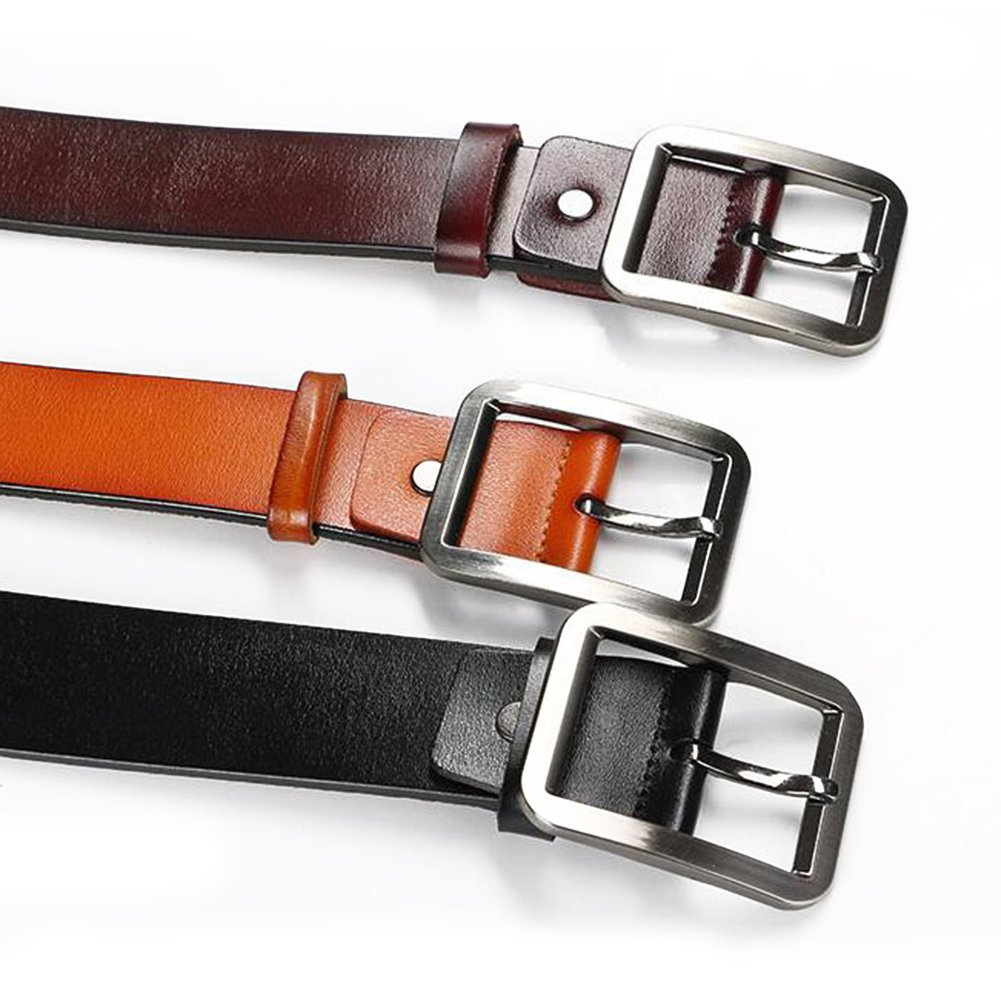 Men Pin Buckle Simple All-match Leather Belt Commercial /& Leisure Cowhide Waistband For Adults
