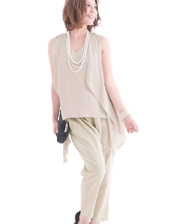 プールヴー セットアップ パンツドレス お呼ばれ 女子会 レディース ドレス B014SO8NWK XL|ベージュ ベージュ XL