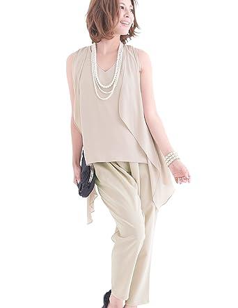 ac1a17935b4d9 プールヴー セットアップ パンツドレス お呼ばれ 女子会 レディース ベージュ 3Lサイズ 15号 ドレス