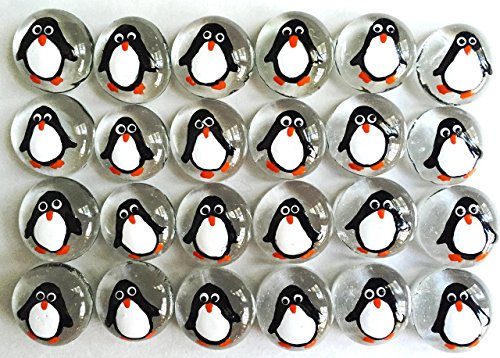 PENGUIN - Hand Painted Set of 24 Glass Gems, Party Supplies, Party Favor, Decoration, etc.let your imagination run wild! from Jazzy Glass Gems