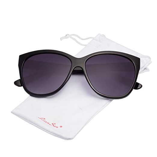 f2f2d3bb26 LianSan Women s Oversized Polarized Plastic Colored Sunglasses 80732 Ships  from the USA (Black)