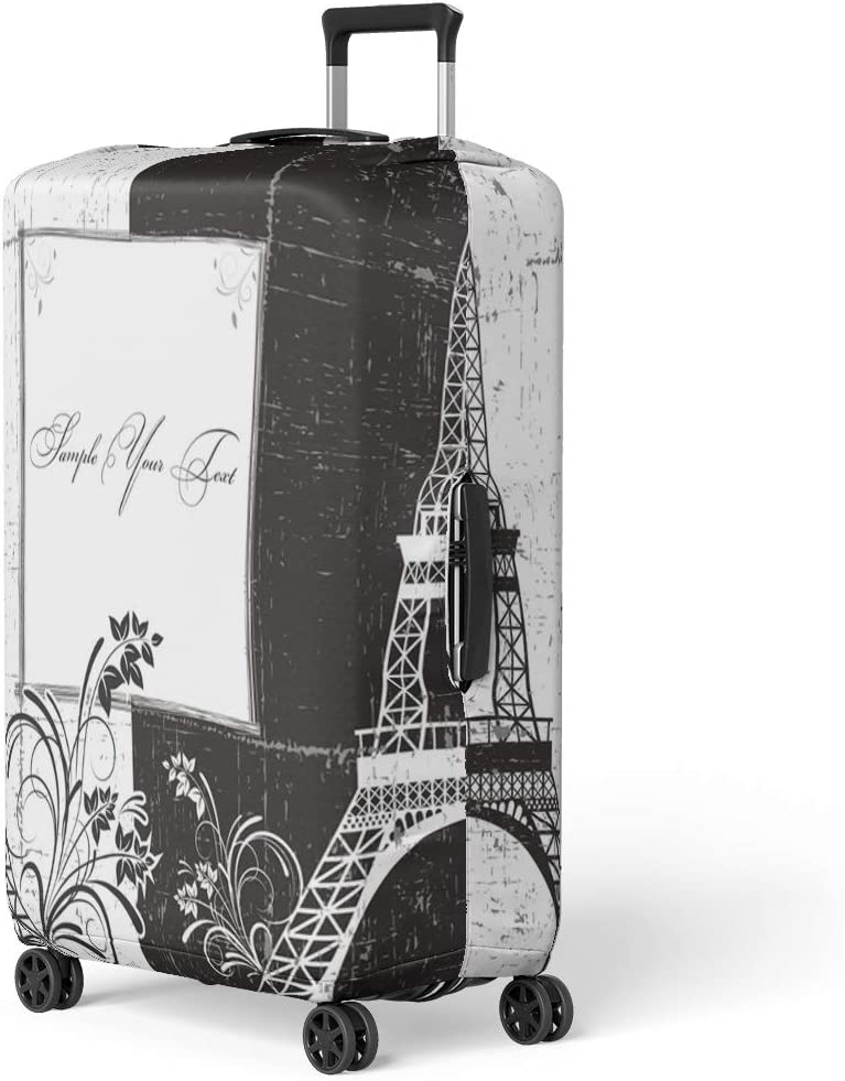 Pinbeam Luggage Cover French of Greeting Eiffel Tower Black Paris Architecture Travel Suitcase Cover Protector Baggage Case Fits 26-28 inches