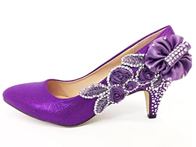Merveilleux Purple Wedding Shoes   Bridal   Bridesmaids   Mid Heel Ladies Court Shoes  (1)