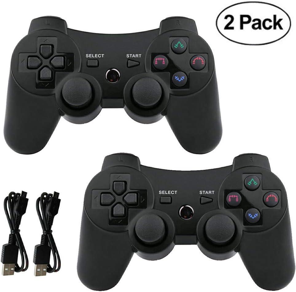 Mando PS3 inalámbrico Bluetooth Gamepad Doble vibración Six-Axis Mando a Distancia Joystick para Playstation 3 con Cable de Carga