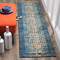 Safavieh Monaco Collection MNC208V Modern Abstract Erased Weave Blue and Ivory Distressed Runner Rug (22 x 12)