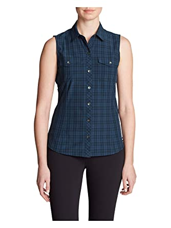 6fcf80b3f50 Eddie Bauer Women s Departure Sleeveless Shirt - Print at Amazon Women s  Clothing store