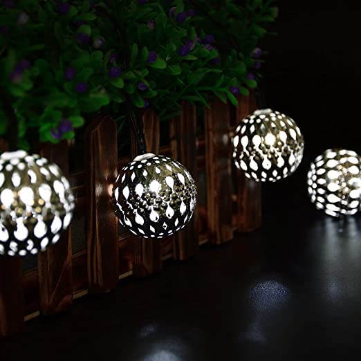 Luckled 11ft 10 led fairy moroccan ball lights globe solar string luckled 11ft 10 led fairy moroccan ball lights globe solar string lights decorative lighting for indooroutdoor home garden patio lawn aloadofball Images