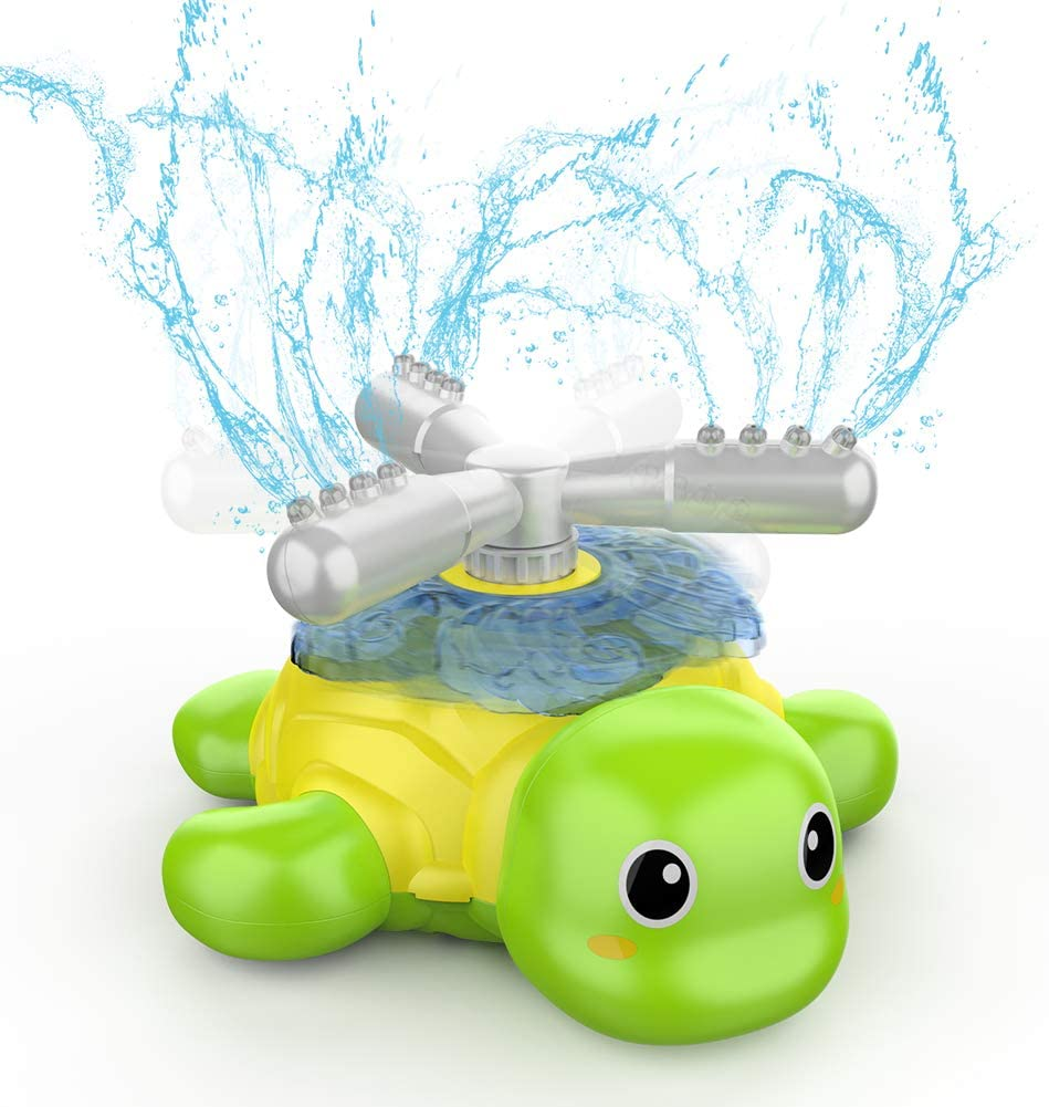 KMUYSL Spray Sprinkler for Kids, Outdoor Water Toys Gifts for 3,4,5,6,7,8 Year Old Boys & Girls Turtle Sprinkler Toy - Spinning Turtle Spray Sprinkler for Outside Lawn Backyard Yard