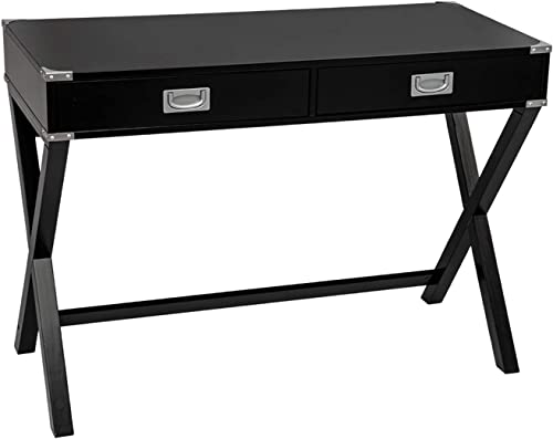 BAHOM Multifunctional Computer Writing Desk, Study Table with 2 Drawers for Home Office, Black