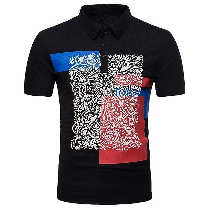 Camiseta Manga Y De Con Hombre Solapa Corta Mirray Estampado qMpSzUV