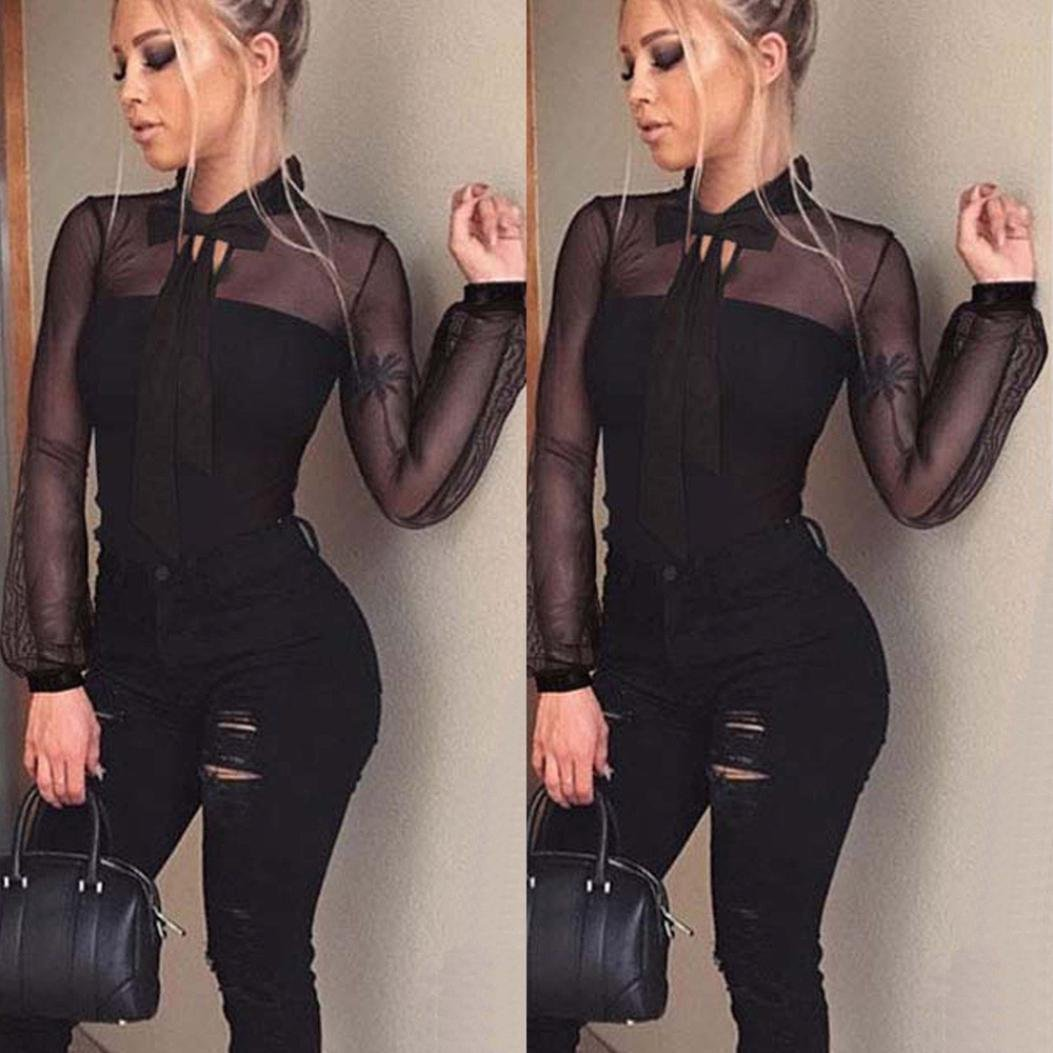 1e20be1b39f ... Rambling New Women Sexy Black Mesh Sheer Long Sleeve Bodycon Bodysuit  Jumpsuit Tops ...